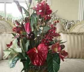 Sale 100 OFF Silk Red Burgundy EXOTIC TROPICAL Floral Arrangement in Rectangular Tin Ornate Vase